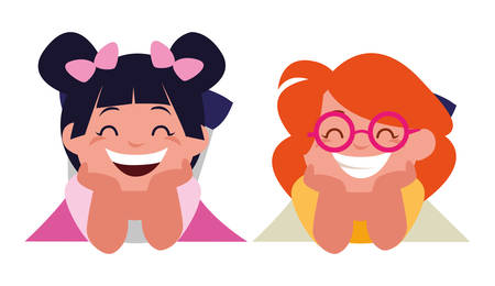 happy little girls characters vector illustration design 일러스트