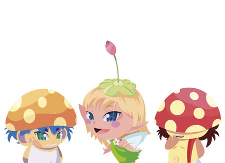 fungus elfs and fairy magic characters vector illustration design Illustration
