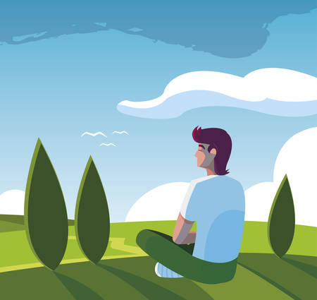 Man contemplating the horizon in the field scene