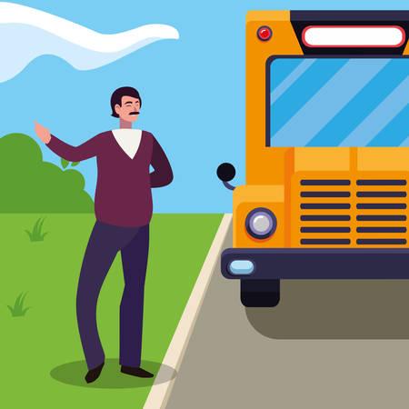 Teacher male in stop bus