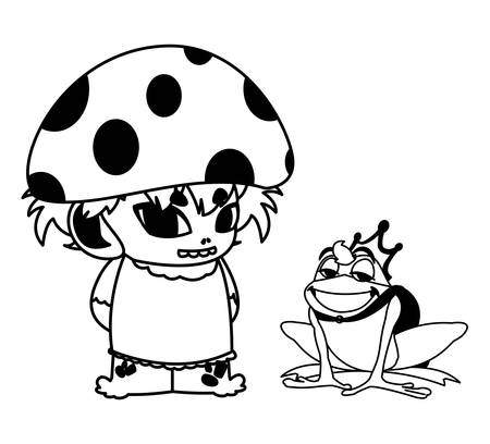 toad prince and fungu elf fairytale character vector illustration design