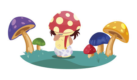 fungu elf in fungus garden magic character vector illustration design Иллюстрация