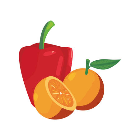 orange with pepper bell fresh food vector illustration 向量圖像