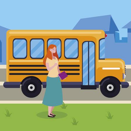 female teacher in bus stop vector illustration design