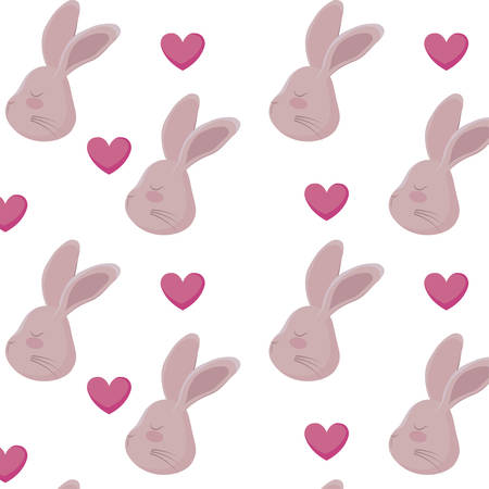pattern of heads rabbits with hearts vector illustration design Archivio Fotografico - 128057383
