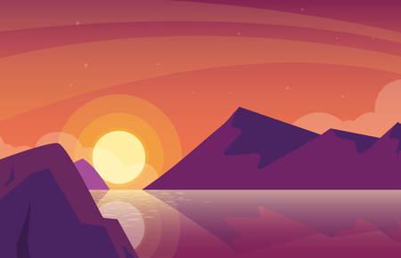 sunset landscape with lake scene icon vector illustration design Çizim