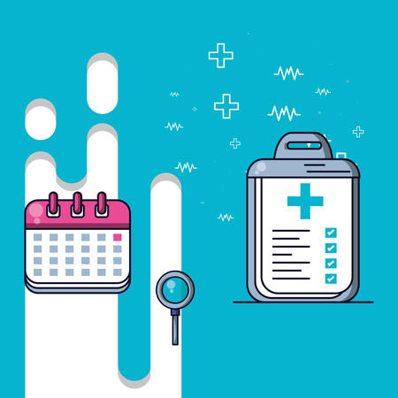 world health day with calendar reminder and set icons vector illustration design