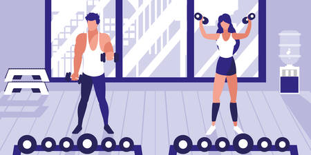 young athletic couple lifting dumbbells in gym vector illustration design