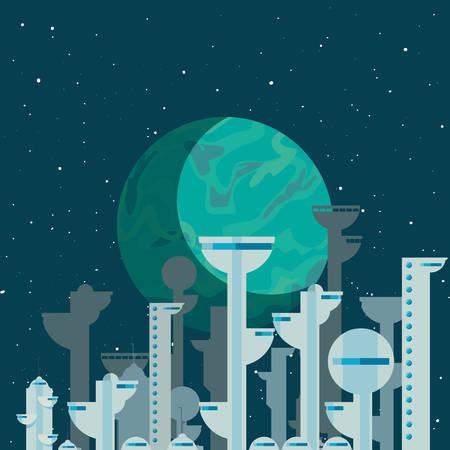 rocket colony futuristic space vector illustration design