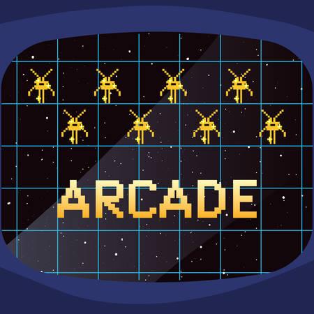 screen invaders battle video game retro vector illustration design Vector Illustration