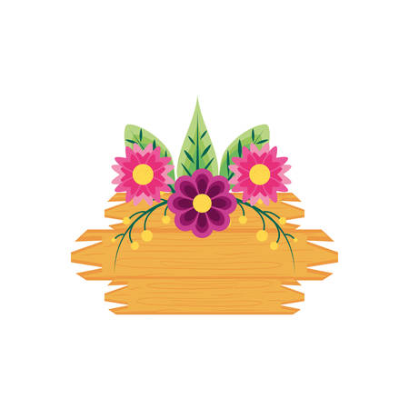 label wooden with flowers naturals and leafs vector illustration design
