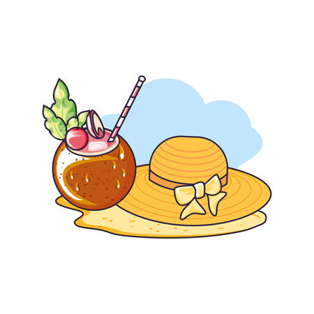 hat female wicker in the beach with cocktail of coconut vector illustration design