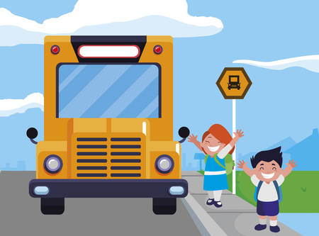 happy little school kids in the bus stop vector illustration design Ilustracja