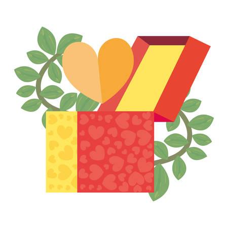 gift box heart leaves white background vector illustration Vetores