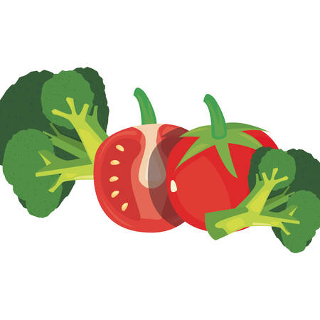 tomato broccoli fresh food vector illustration design Illusztráció