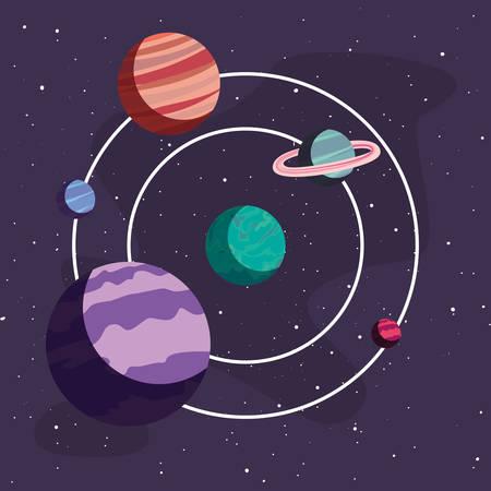 system solar planet galaxy astronomy vector illustration Ilustração Vetorial