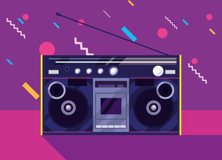 boombox stereo music 80s memphis retro 80s style vector illustration
