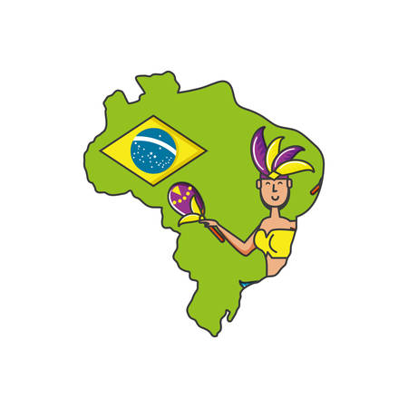 woman brazilian dancer with map of brazil vector illustration design