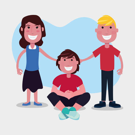 happy group teenagers characters cartoon vector illustration
