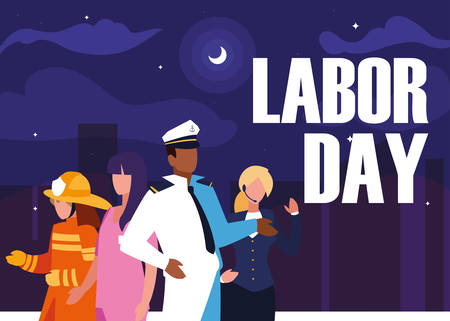 labour day with group professionals and cityscape vector illustration design