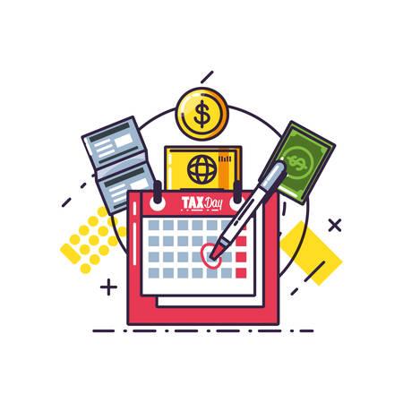 Día de impuestos con recordatorio de calendario y establecer iconos diseño ilustración vectorial Ilustración de vector