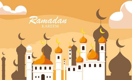 ramadan kareem mosque building traditional vector illustration design Ilustração