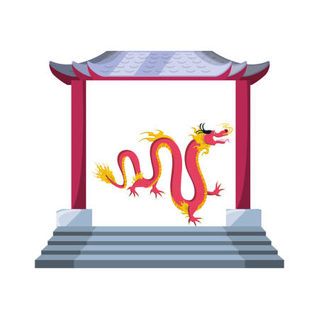 chinese portal with dragon isolated icon vector illustration design