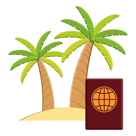 passport international document with trees palms vector illustration design