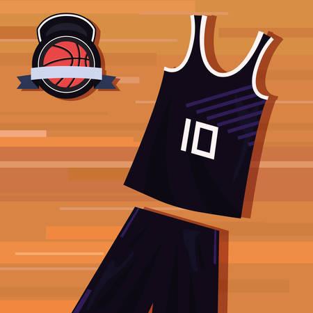basketball uniform sport jersey shorts ball vector illustration