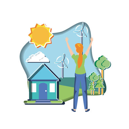 young woman with windmill in eco friendly scene vector illustration design