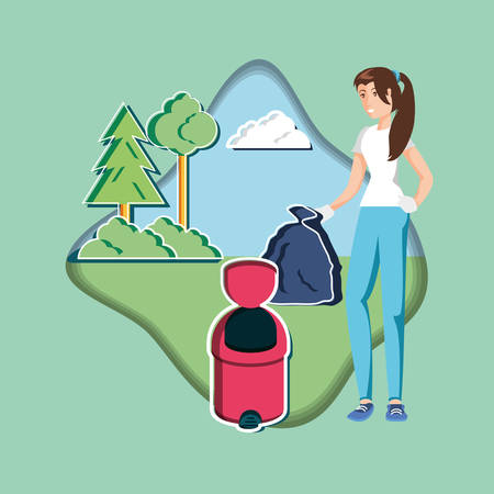 woman with waste garbage recycling in eco friendly scene vector illustration design