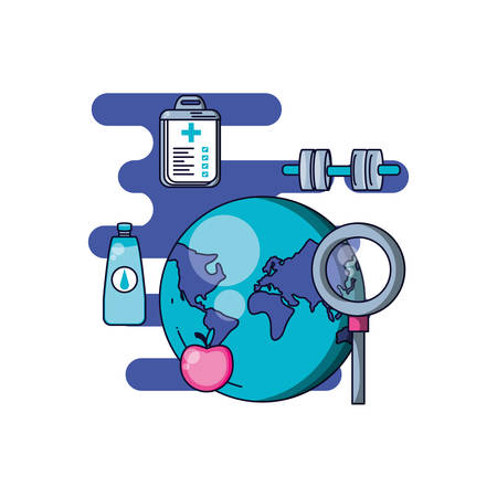world health day with planet and set icons vector illustration design