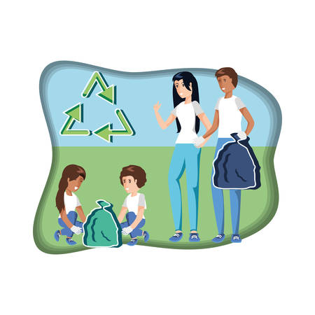 family with bags recycling in eco friendly scene vector illustration design