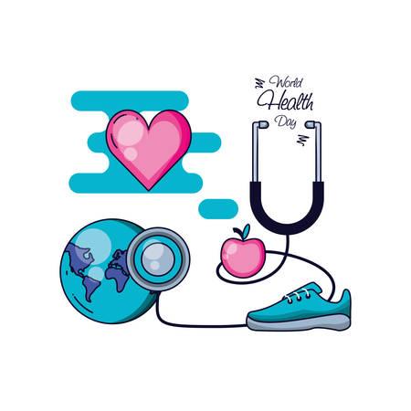 Weltgesundheitstag mit Sportzubehör und Set Icons Vector Illustration Design