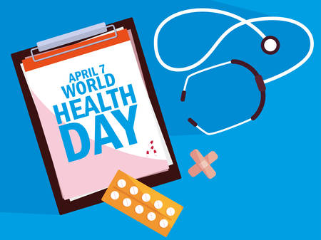 world health day card with clipboard and set icons vector illustration design