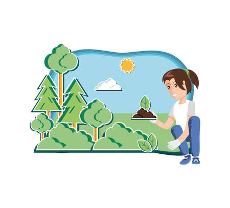 young woman with eco friendly scene vector illustration design 向量圖像