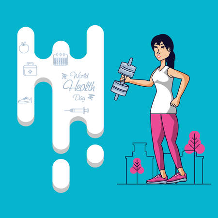 world health day with athletic woman and set icons vector illustration design