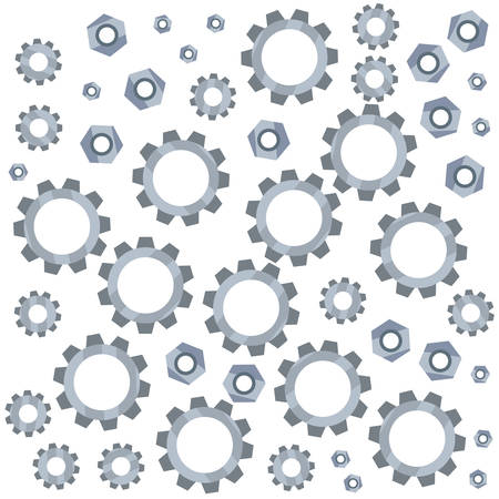 background gears cogwheel screw nuts tools vector illustration design 向量圖像