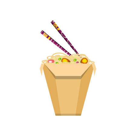 spaghetti in box container chinese food icon vector illustration design