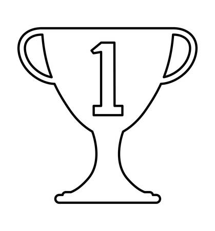 trophy cup with number one vector illustration design