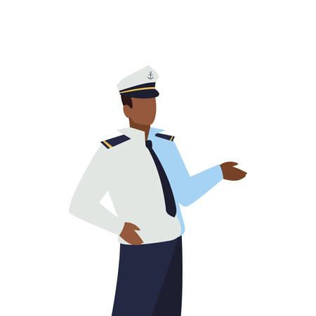 sailor captain marine character vector illustration design