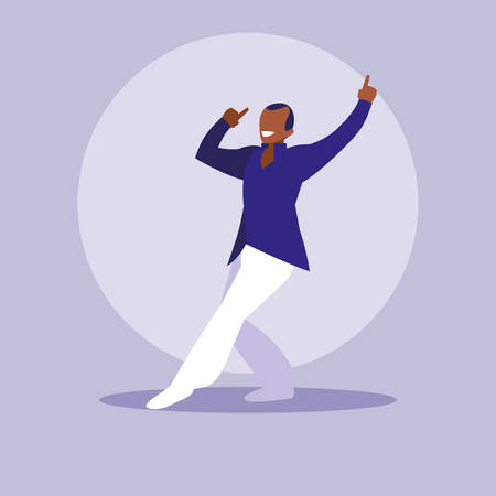 man black dancing avatar character vector illustration design