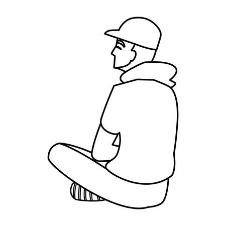 man seated back character vector illustration design Foto de archivo - 128313154