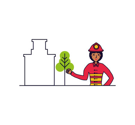 firefighter professional female with cityscape vector illustration design Vectores