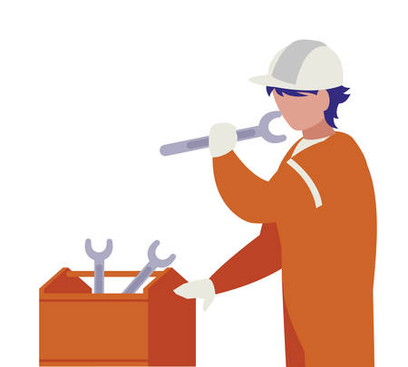 repairman with toolsbox character vector illustration design