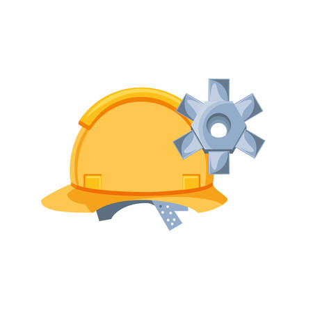 helmet construction protection with gear vector illustration design