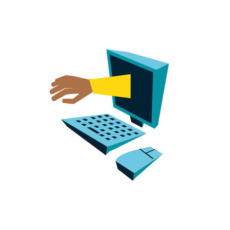 desktop computer with hand isolated icon vector illustration design Vector Illustration