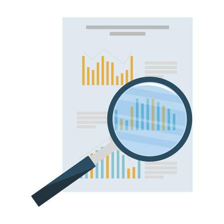 Lupa de búsqueda con documentos financieros, diseño de ilustraciones vectoriales