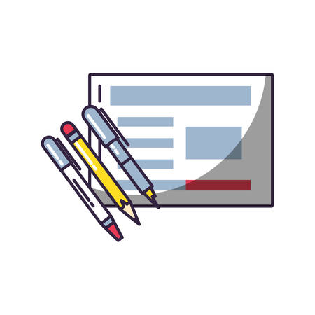 pencils with document isolated icon vector illustration design Ilustrace