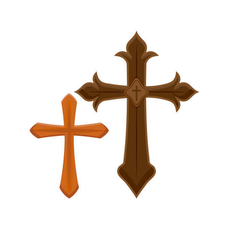 set of crosses catholics vector illustration design